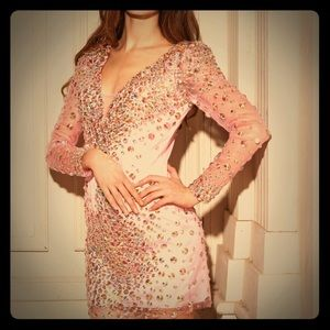 Angela & Alison Bubblegum Pink AB rhinestone dress